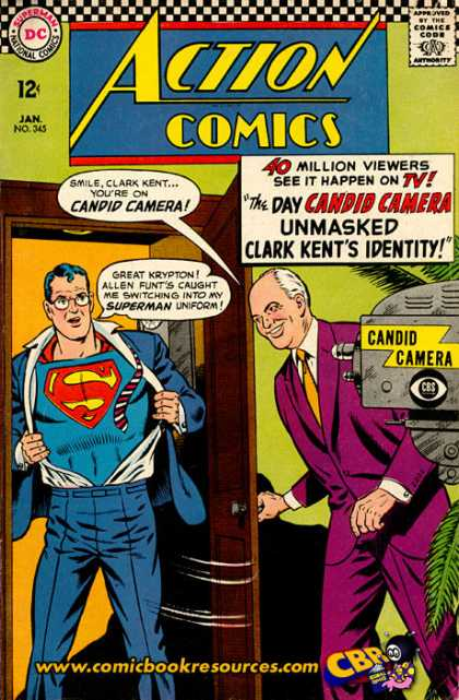 Action Comics 345 - Candid Camera - Clark Kent - Allen Funt - Camera - Superman - Curt Swan