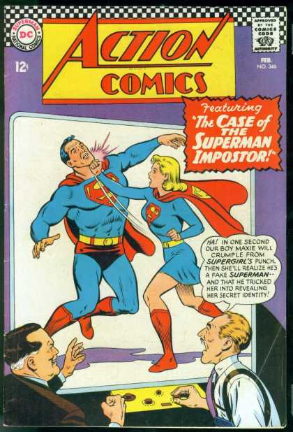 Action Comics 346 - Supergirl - Superman - Punch - Dc Comics - Impostor - Curt Swan