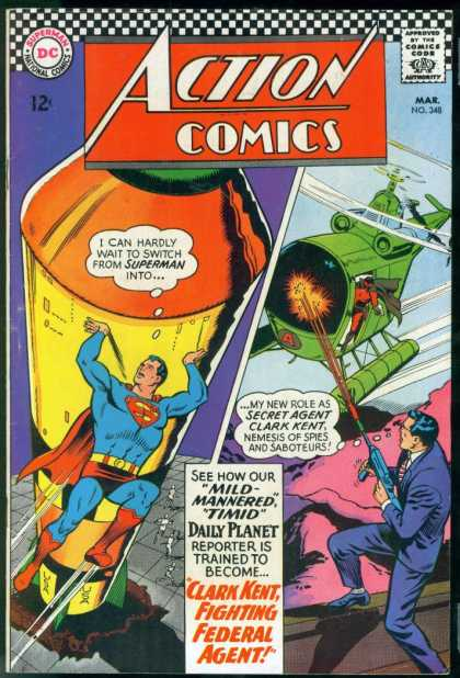 Action Comics 348 - Superman - Clark Kent - 12 Cents - Mail - No 348 - Curt Swan