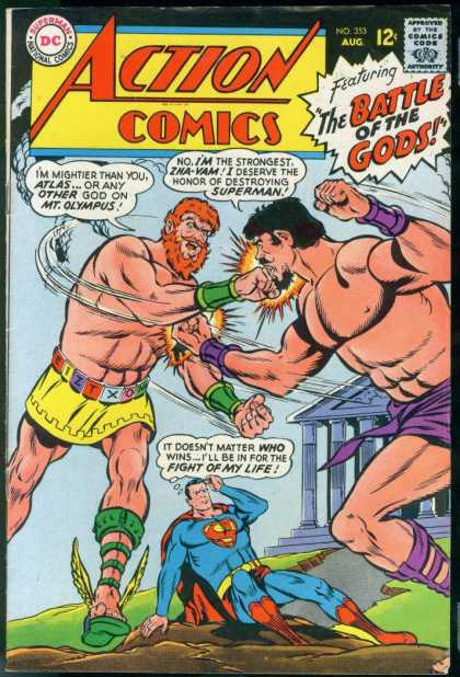 Action Comics 353 - Superman - Atlas - Punching - Muscles - Fist