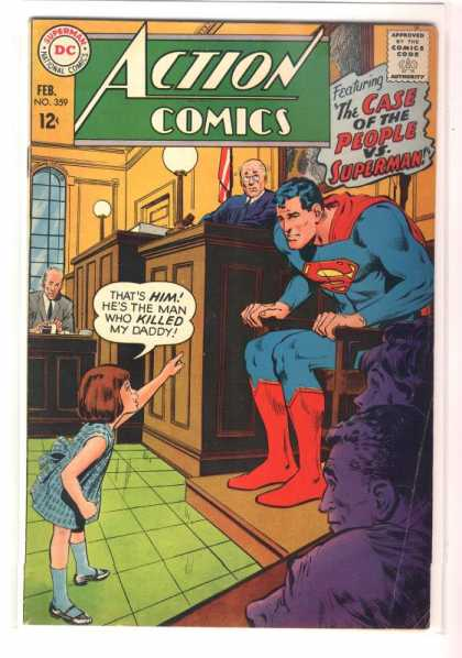 Action Comics 359 - Judge - Superman - The Case Of The People Vs Superman - Witness Stand - Courtroom - Neal Adams