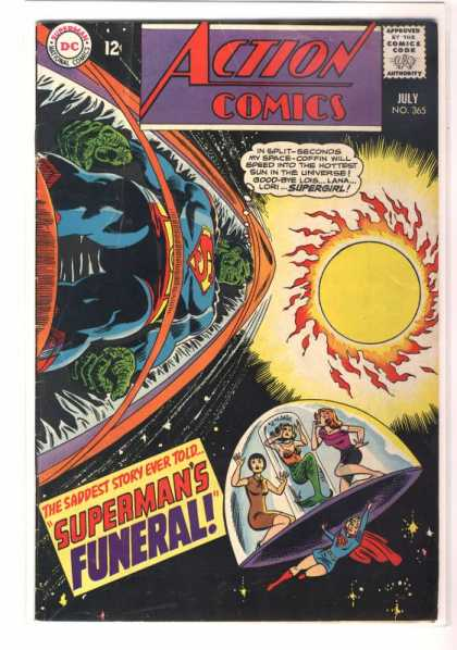 Action Comics 365 - Superman - Supergirl - Coffin - Funeral - Sun - Ross Andru