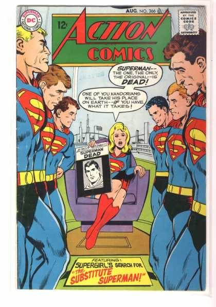 Action Comics 366 - Supergirl - Supermen - Newspaper - Meeting - Chair - Neal Adams