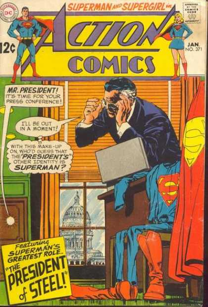 Action Comics 371 - President - Washington - Superman - Press Conference - Identity - Curt Swan, Neal Adams