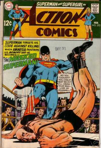 Action Comics 372 - Superman - Wrestler - Wrestling Ring - Crowd - The Masked Superman - Neal Adams