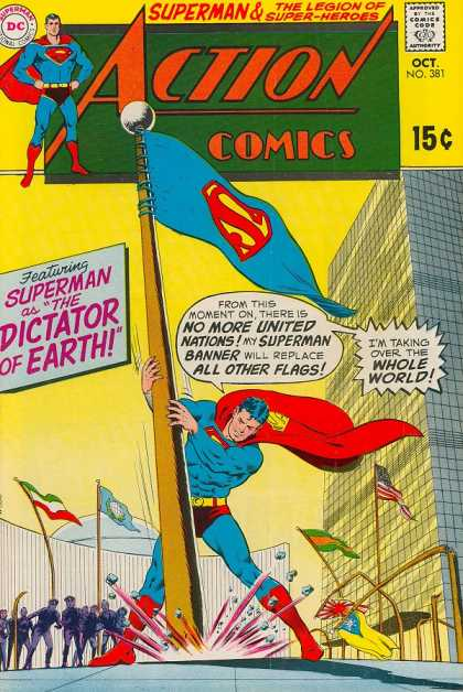 Action Comics 381 - Flag - United Nations - Superman - Dictator - Banner - Curt Swan, Murphy Anderson