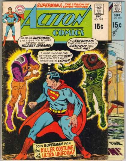 Action Comics 383 - Superman - Headless - Choose A Costume - Killer Costume Or The Ultimate Uniform - Talking Clothing - Curt Swan, Murphy Anderson