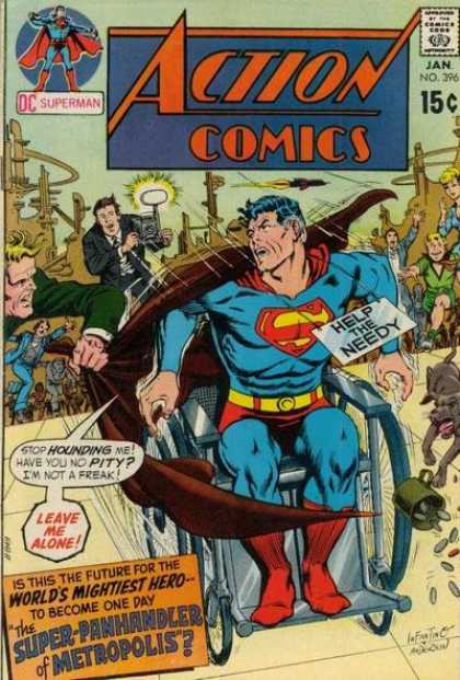 Action Comics 396 - Superman - Wheelchair - Photographer - Help The Needy - The Super-panhandler Of Metropolis - Carmine Infantino, Murphy Anderson