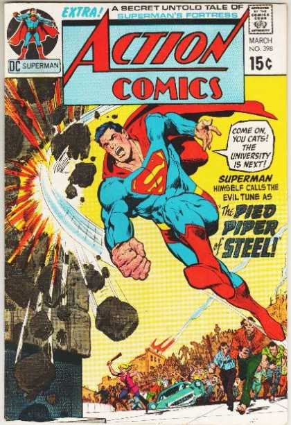 Action Comics 398 - Riot - Superman - Crowd - Steel - Pied Piper - Dick Giordano, Neal Adams