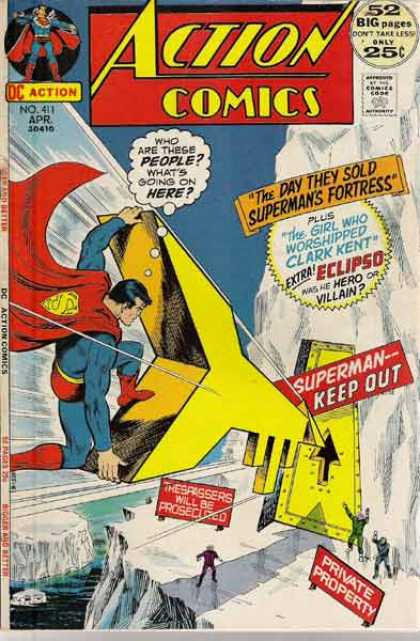 Action Comics 411 - Fortress - Superman - Eclipso - Clark Kent - Huge Gold Key - Nick Cardy