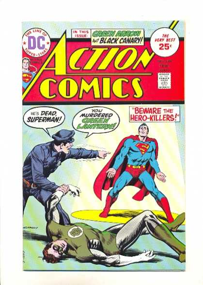 Action Comics 444 - Green Arrow - Black Canary - Beware The Hero-killers - Policeman - Superman - Nick Cardy