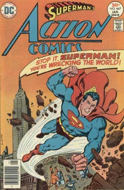 Action Comics 467 - Superman - Skyscraper - Destroyed - Angry - Fists - Bob Oksner