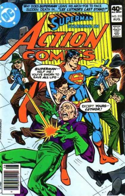 Action Comics 510 - Superman - Thugs - Gun - Lex Luthor - Lex Luthors Death - Dick Giordano, Ross Andru