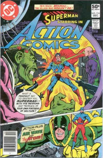 Action Comics 514 - Superman - Brainiac - Atom - Guns - Air Wave - Dick Giordano, Richard Buckler