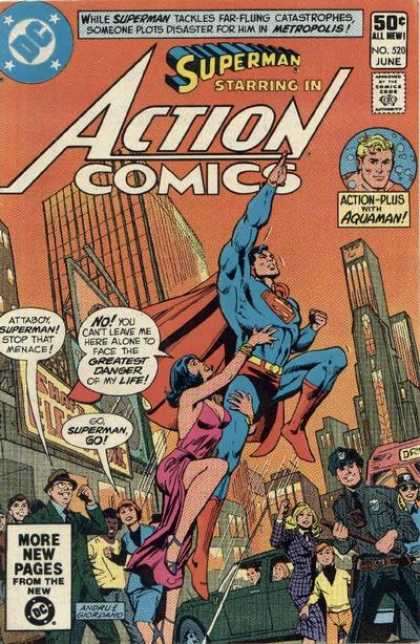 Action Comics 520 - Aquaman - Superman - Woman - Police - Dc - Dick Giordano, Ross Andru
