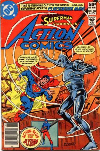 Action Comics 522 - Clockwork Man - Superman - Time Tornado - Atom - Robot - Dick Giordano, Richard Buckler