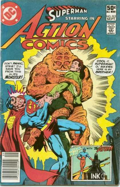 Action Comics 523 - Superman - Ugly Alien - Struggling - Grappling - Multiple Eyes - Dick Giordano, Richard Buckler