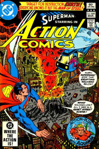 Action Comics 529 - Helicopter - Superman - Aquaman - Volcano - Buildings - Dick Giordano, George Perez