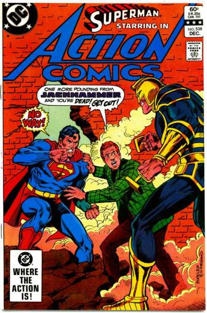 Action Comics 538 - Superman - Jackhammer - Jimmy Olsen - Jack Hammer - Broken Red Brick Wall - Dick Giordano, Richard Buckler