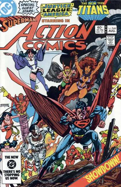 Action Comics 546 - Superman - Teen Titans - Red Tornado - Hawkman - Wonder Girl