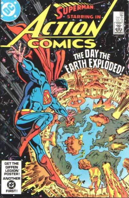 Action Comics 550 - Space - Earth - Explode - Boom - Planet