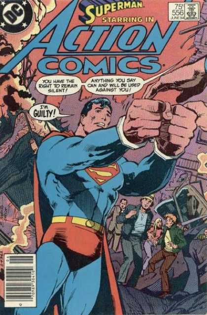 Action Comics 556 - Superman - Arrested - Handcuffs - Guilty - Right To Remain Silent - Eduardo Barreto, Klaus Janson