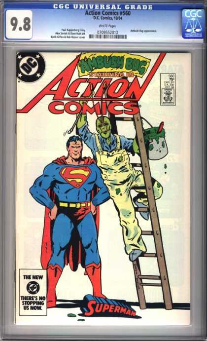 Action Comics 560 - Ladder - Superman - Green Paint - Overalls - Ambush Bug - Bob Oksner, Keith Giffen