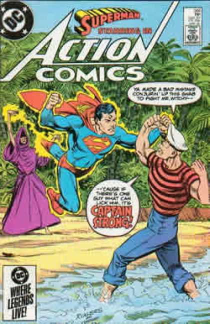 Action Comics 566 - Captain Strong - Superman - Beach - Jerry Ordway