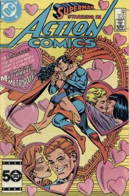 Action Comics 568 - Superman - Hearts - Kiss - Jerry Ordway