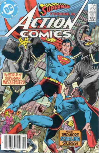 Action Comics 572 - Superman - Elephant - Elephants - Masqueraders - Circus - Eduardo Barreto