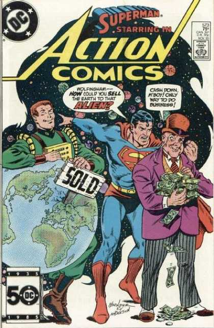 Action Comics 573 - Superman - Alien - Money - Earth - Space - Murphy Anderson