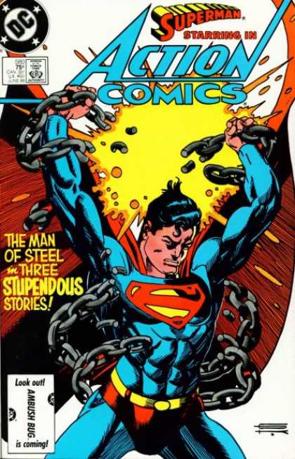 Action Comics 580 - Chains - Superman - Breaking The Chains - Superman The Man Of Steele - Why Was Superman In Chains