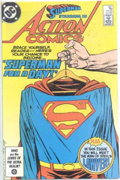 Action Comics 581 - Hanger - Hand - Arm - Suit - Denys Cowan, Dick Giordano