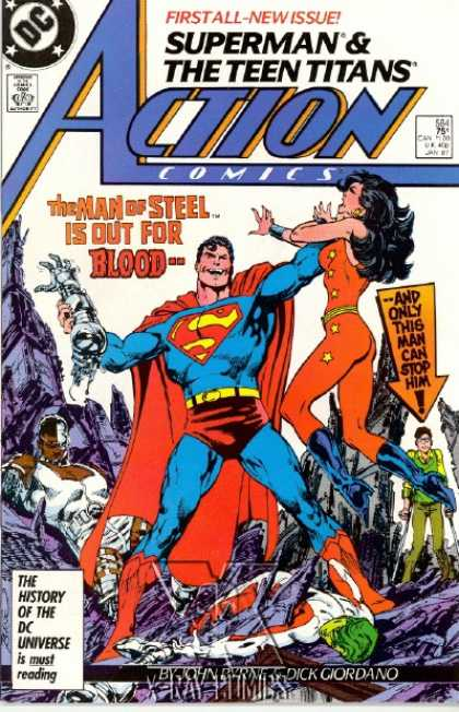 Action Comics 584 - Superman - Changeling - Man Of Steel - Dick Giordano - Teen Titans - John Byrne