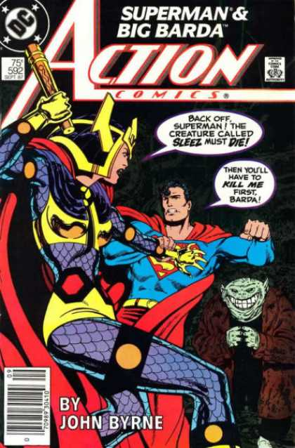 Action Comics 592 - Sleez - Superman - Big Barda - Fight - Barda - John Byrne