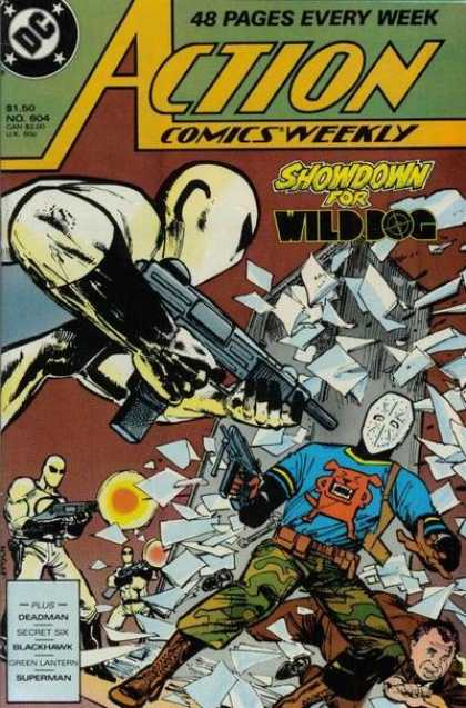 Action Comics 604 - Wild Dog - Guns - Broken Glass - Gun Fight - Hockey Mask - Klaus Janson