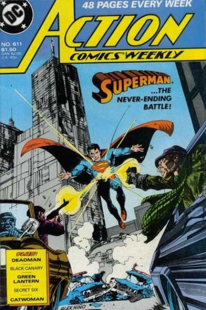 Action Comics 611 - Superman - Gun - Building - Cars - Guns