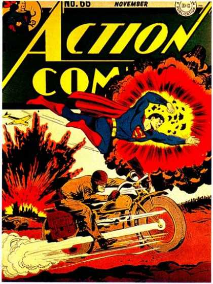 Action Comics 66 - Superman - Explosion - War - Motorcycle