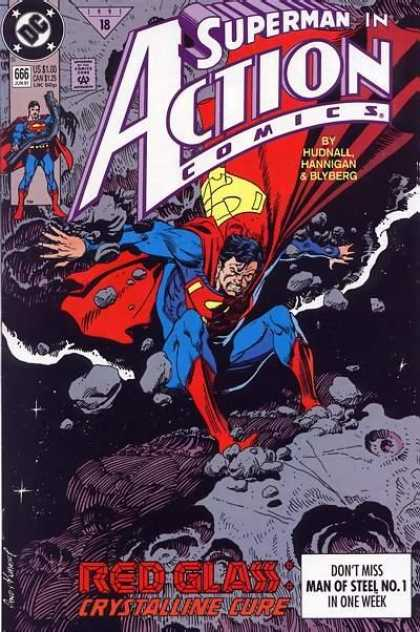 Action Comics 666 - Superman - Space - Rocks - Red - Meteors - Andy Kubert