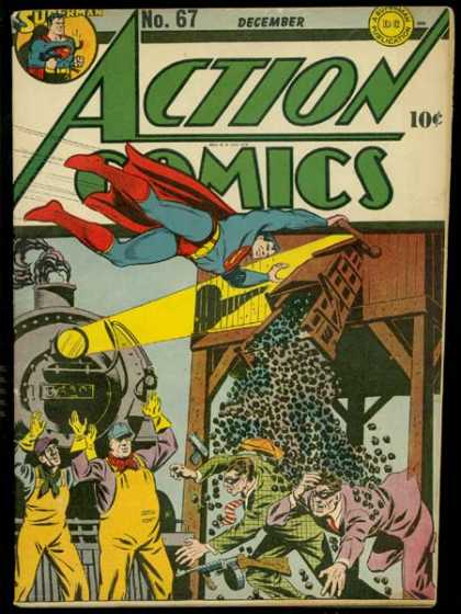 Action Comics 67 - Superman - Holdup - Thieves - Train Engineers - Captured - George Roussos