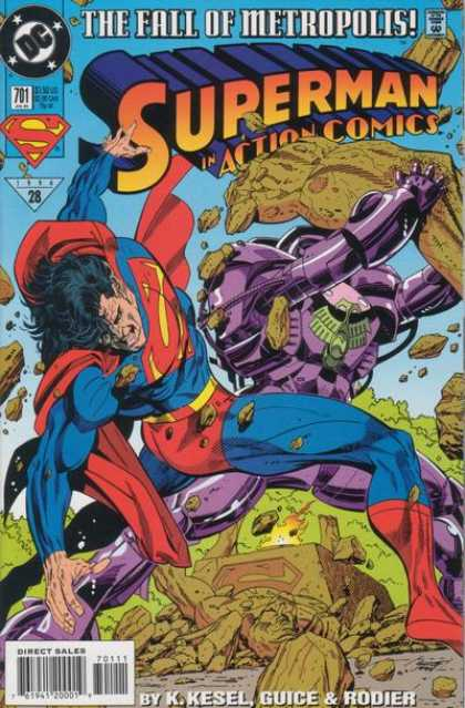 Action Comics 701 - Superman - Robot - The Fall Of Metropolis - Rocks - Robots - Denis Rodier