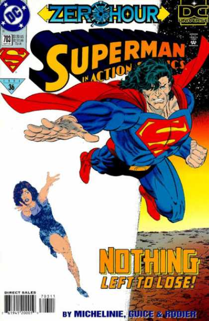 Action Comics 703 - Superman - Zero Hour - Water - Girl Running - Red Cape