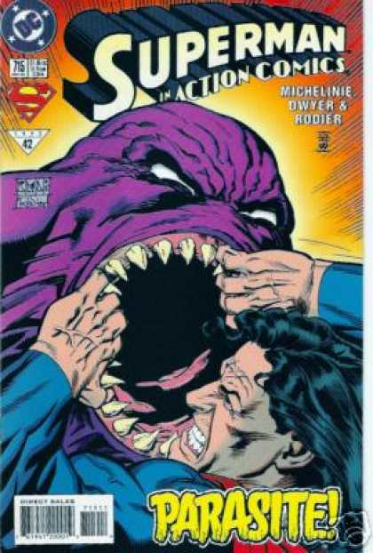 Action Comics 715 - Superman - Parasite - Purple Monster With White Eyes And Sharp Teeth - Michelinie Dwyer U0026 Rodier - Superman Fights Off Biting Purple Villain - Denis Rodier