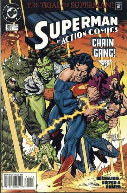 Action Comics 716 - Superman Ripped Uniform - Chain Gang - Green Monster - The Trial Of Superman - Dc Comics - Denis Rodier