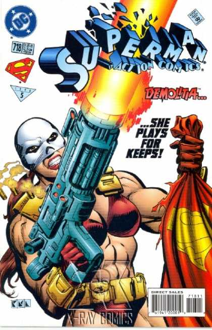 Action Comics 718 - Demolitia - Gun - Cape - Mask - Superman - Denis Rodier