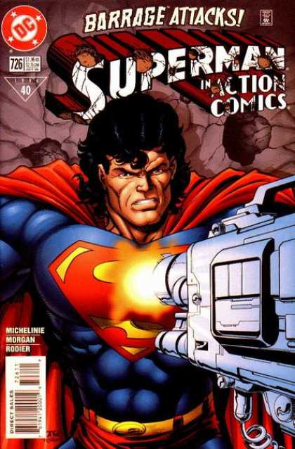 Action Comics 726 - Superman - Gun - Grimace - Barrage Attacks - Muscle - Denis Rodier, Tom Grummett