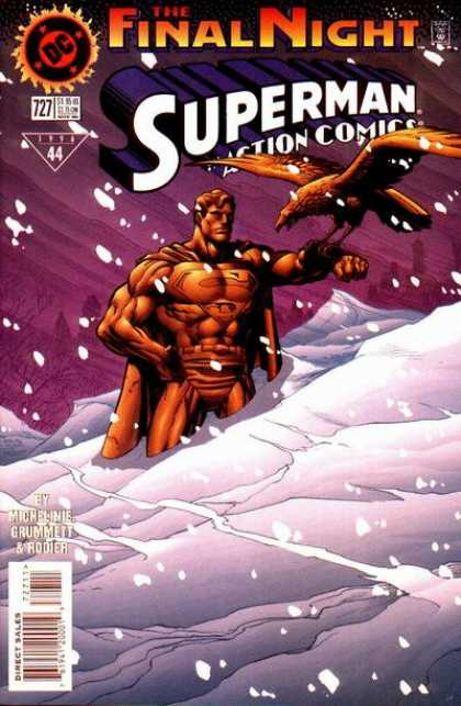 Action Comics 727 - Statue - The Final Night - Snowstorm - Eagle - Anow Banks - Denis Rodier, Tom Grummett