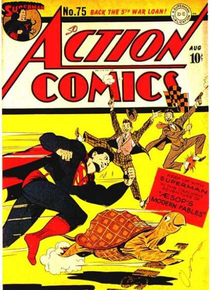 Action Comics 75 - Superman - Turtle - Race - Checkered Flag - George Roussos