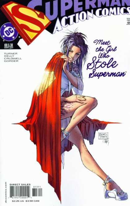 Action Comics 813 - Girl - Cape - White - Tatoo On Upper Thigh - Girl In Superman Cape - Michael Turner