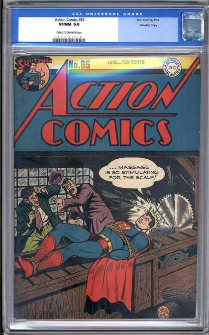 Action Comics 85 - Bad Guys - Trap - Machine Saw - Hero - Trouble
